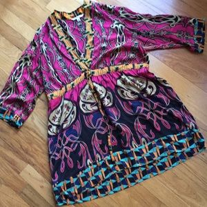 CAbi Vibrant 100%silk empire drawstringwaist tunic